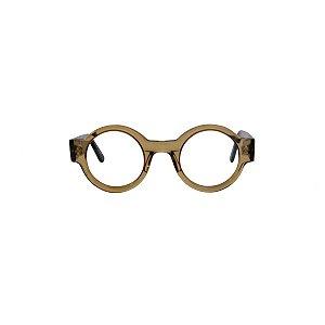 Armação para óculos de Grau Gustavo Eyewear G62 300. Modelo masculino. Cor: Âmbar translúcido. Haste preta.