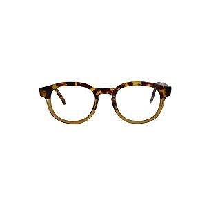 Armação para óculos de Grau Gustavo Eyewear G82 200. Modelo masculino. Cor: Animal print e nude translúcido. Haste animal print.