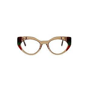 Armação para óculos de Grau Gustavo Eyewear G93 1. Cor: Âmbar com vinho, verde e vermelho translúcidos. Haste vinho translúcido.