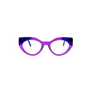 Armação para óculos de Grau Gustavo Eyewear G93 4. Cor: Azul e violeta translúcidos. Haste azul translúcido.