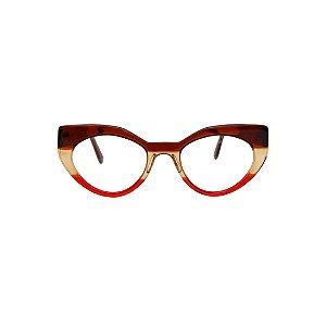 Armação para óculos de Grau Gustavo Eyewear G93 8. Cor: Marrom, âmbar e vermelho translúcidos. Haste marrom translúcido.