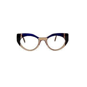 Armação para óculos de Grau Gustavo Eyewear G93 7. Cor: Âmbar, preto e azul translúcido. Haste âmbar.