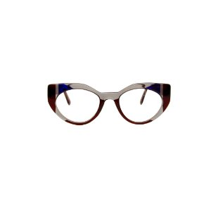 Armação para óculos de Grau Gustavo Eyewear G93 13. Cor: Marrom, fumê e azul translúcido. Haste marrom translúcido.