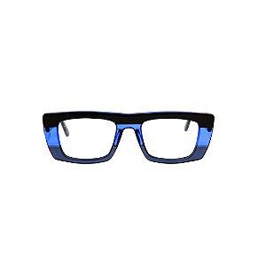 Armação para óculos de Grau Gustavo Eyewear G80 800. Cor: Preto, azul claro e azul translúcidos. Haste preta.