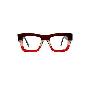Armação para óculos de Grau Gustavo Eyewear G64 4. Modelo unisex. Cor: Marrom, âmbar e vermelho translúcido. Haste marrom translúcido.