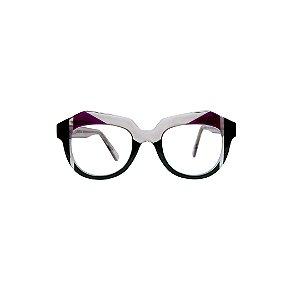Armação para óculos de Grau Gustavo Eyewear G37 8. Cor: Fumê, preto, vinho e verde translúcido. Haste fumê.