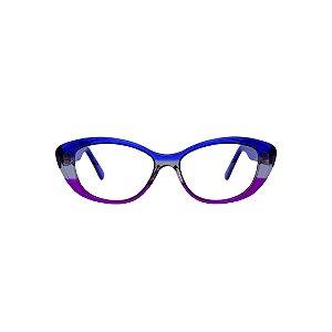 Armação para óculos de Grau Gustavo Eyewear G50 800. Cor: Azul, fumê e violeta translúcido. Haste azul translúcido.