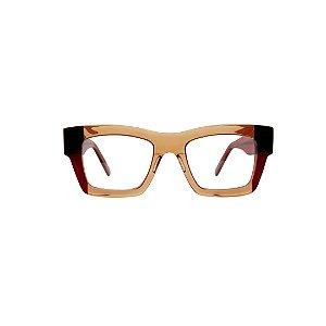 Armação para óculos de Grau Gustavo Eyewear G64 9. Modelo unisex. Cor: Âmbar, preto e marrom translúcido. Haste marrom translúcido.