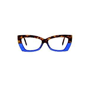 Armação para óculos de Grau Gustavo Eyewear G81 3. Cor: Animal print com azul translúcido. Haste animal print.