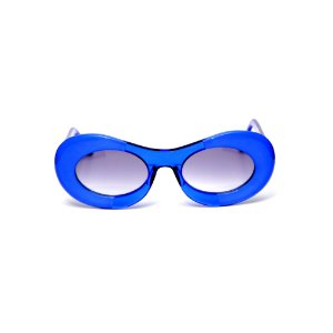 Óculos de sol Gustavo Eyewear G89 11. Cor: Azul opaco com azul translúcido. Haste azul. Lentes cinza.