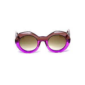 Óculos de sol Gustavo Eyewear G90 4. Cor: Violeta e fumê translúcido. Haste fumê.