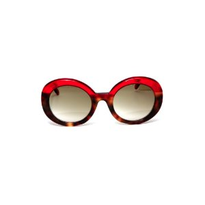 Óculos de sol Gustavo Eyewear G61 19. Cor: Animal print com vermelho translúcido. Haste vermelha.