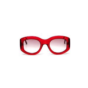 Óculos de sol Gustavo Eyewear G60 1. Cor: Vermelho translúcido. Haste animal print.