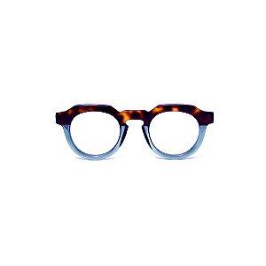 Armação para óculos de Grau Gustavo Eyewear G66 700. Cor: Acqua com animal print. Haste animal print.