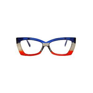 Armação para óculos de Grau Gustavo Eyewear G81 300. Cor: Azul, fumê e vermelho translúcido. Haste azul.