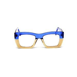 Armação para óculos de Grau Gustavo Eyewear G79 6. Cor: Azul e âmbar translúcido. Haste azul.