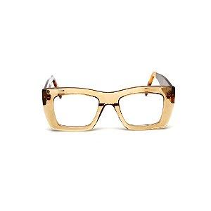 Armação para óculos de Grau Gustavo Eyewear G79 9. Cor: Âmbar. Haste animal print.