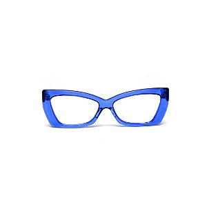 Armação para óculos de Grau Gustavo Eyewear G81 4. Cor: Azul translúcido. Haste preta.