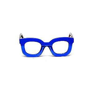 Armação para óculos de Grau Gustavo Eyewear G31 3. Cor: Azul opaco e translúcido. Haste animal print.