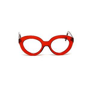 Armação para óculos de Grau Gustavo Eyewear G25 5. Cor: Vermelho translúcido. Haste animal print.