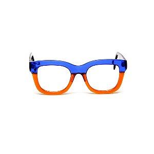 Armação para óculos de Grau Gustavo Eyewear G57 8. Cor: Azul e laranja translúcidos. Haste preta.