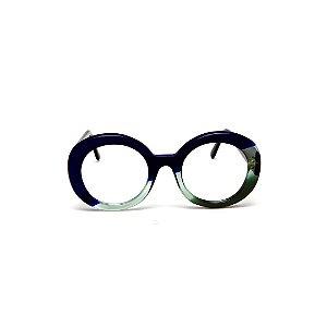 Armação para óculos de Grau Gustavo Eyewear G61 25. Cor: Azul opaco com acqua e verde translúcido. Haste marrom.