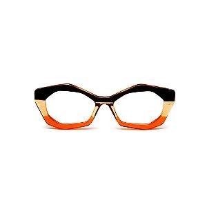 Armação para óculos de Grau Gustavo Eyewear G53 2. Cor: Preto, âmbar e laranja. Haste preta.