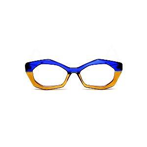 Armação para óculos de Grau Gustavo Eyewear G53 5. Cor: Azul translúcido e âmbar. Haste azul.