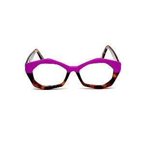 Armação para óculos de Grau Gustavo Eyewear G53 9. Cor: Violeta opaco com animal print. Haste animal print.