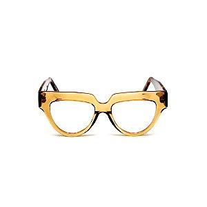 Armação para óculos de Grau Gustavo Eyewear G40 7. Cor: Âmbar. Haste animal print.