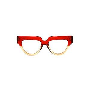 Armação para óculos de Grau Gustavo Eyewear G40 9. Cor: Vermelho translúcido e âmbar. Haste vermelha.