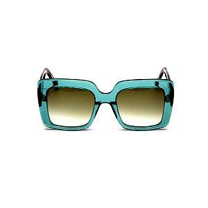 Óculos de sol Gustavo Eyewear G59 1. Cor: Verde translúcido. Haste animal print. Lentes marrom.