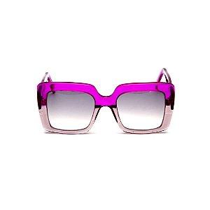 Óculos de sol Gustavo Eyewear G59 2. Cor: Lilás e fumê translúcido. Haste lilás. Lentes cinza.