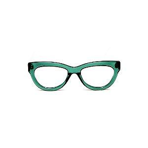 Armação para óculos de Grau Gustavo Eyewear G73 3. Cor: Verde translúcido. Haste preta.
