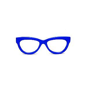 Armação para óculos de Grau Gustavo Eyewear G73 6. Cor: Azul opaco. Haste preta.