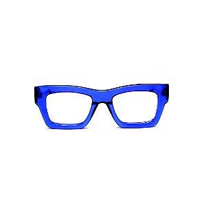 Armação para óculos de Grau Gustavo Eyewear G64 12. Cor: aZUL translúcido. Haste marrom.