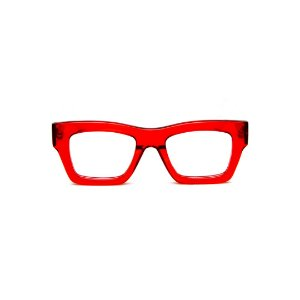 Armação para óculos de Grau Gustavo Eyewear G64 13. Cor: Vermelho translúcido. Haste marrom.