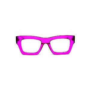 Armação para óculos de Grau Gustavo Eyewear G64 20. Cor: Violeta translúcido. Haste marrom.