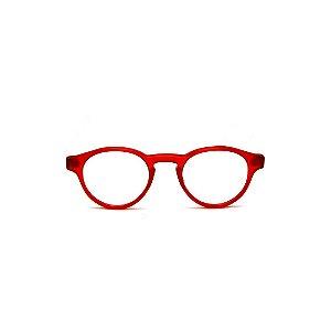 Armação para óculos de Grau Gustavo Eyewear G85 1. Cor: Vermelho translúcido. Haste animal print.