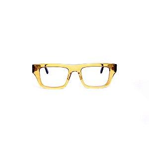 Armação para óculos de Grau Gustavo Eyewear G74 1. Cor: Âmbar. Haste preta.