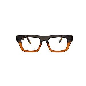 Armação para óculos de Grau Gustavo Eyewear G74 300. Cor: Fumê e ambar. Haste animal print.
