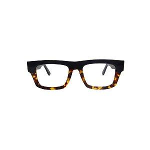 Armação para óculos de Grau Gustavo Eyewear G74 500. Cor: Animal print com preto. Haste animal print.