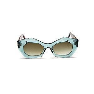 Óculos de sol Gustavo Eyewear G92 4. Cor: Acqua. Haste animal print. Lentes cinza.