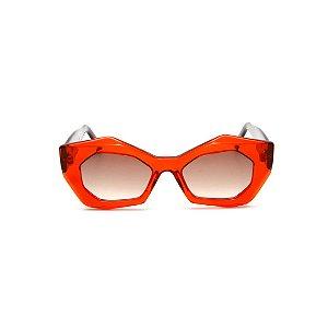 Óculos de sol Gustavo Eyewear G92 5. Cor: Vermelho translúcido. Haste marrom. Lentes marrom.