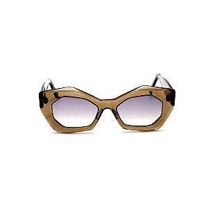 Óculos de sol Gustavo Eyewear G92 7. Cor: Âmbar. Haste preta. Lentes marrom.