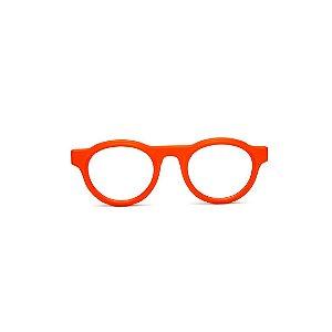 Armação para óculos de Grau Gustavo Eyewear G77 7. Cor: Laranja opaco. Haste preta.