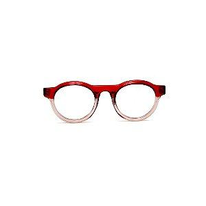 Armação para óculos de Grau Gustavo Eyewear G77 9. Cor: Vermelho translúcido e fumê. Haste vermelha.