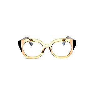 Armação para óculos de Grau Gustavo Eyewear G70 25. Cor: Âmbar com listras nude e preta.. Haste preta.