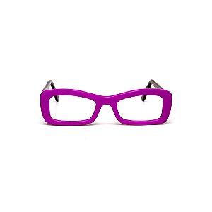 Armação para óculos de Grau Gustavo Eyewear G34 100. Cor: Roxo opaco. Haste animal print.