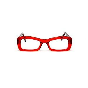 Armação para óculos de Grau Gustavo Eyewear G34 500. Cor: Vermelho translúcido. Haste animal print.